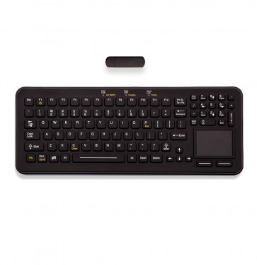 iKey | SBW-97-TP-BLACK -  Rugged Rechargeable Wireless Keyboard with Integrated Touchpad